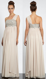 Beige one shoulder chiffon maxi dress