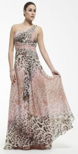 Floaty dusky pink and leopard print one shoulder dress