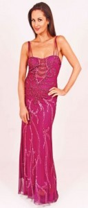 Gatsby style beaded pink long dress