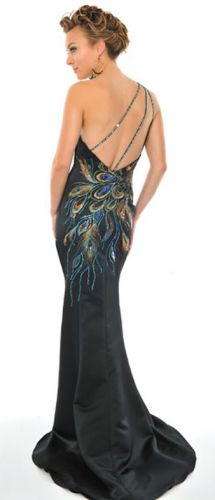 Gorgeous fishtail satin peacock gown a great dress which adheres to that all important black tie event dress code!
