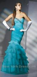 Alyce turquoise frilly mermaid prom dress