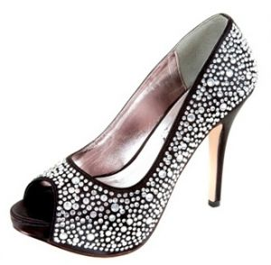 Sparkly black and silver stiletto high heels