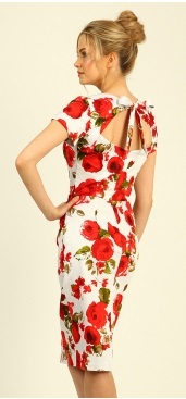 Floral open back pencil dress