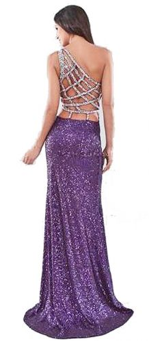Stunning low back sequinned hire dress, perfect for a black tie event