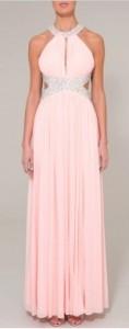 Stunning light pink low back dress by Forever Unique, perfect for black tie events or the red carpet!