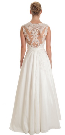 Gorgeous wedding dress with lace back, available to rent
