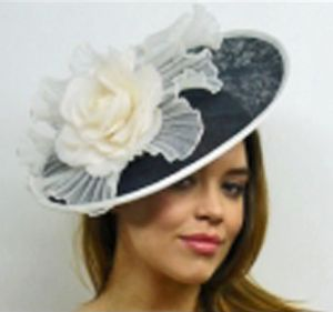 Monochrome black and white disc fascinator - perfect for Ladies Day at the Races!