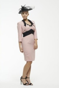 Pink and black pencil dress with matching jacket, perfect for mother of the bride or for ladies day!