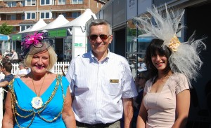The judging panel for best hat - left to right, Denise Cobb, Mayor of Brighton and Jim May, Chairman of SCCC, Leah, Walk in Waradrobe
