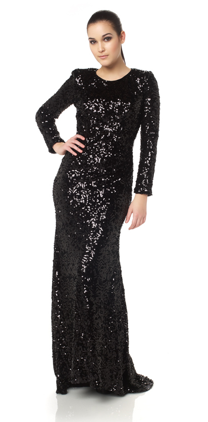 Long sleeved black full length sequin dress