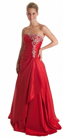 Stunning red corset prom dress with silver embellishment