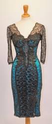 Lace sleeved knee length designer pencil dress