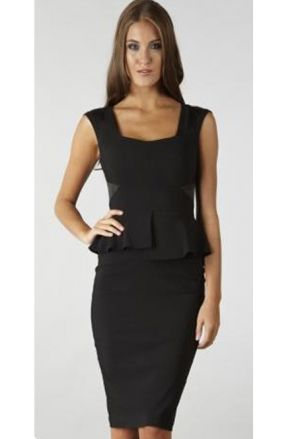 Golden Era inspired black peplum dress
