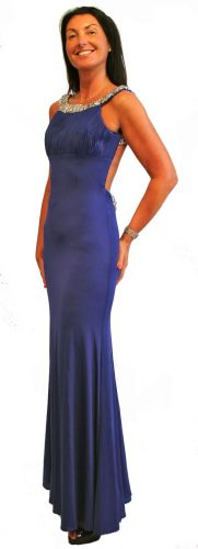 High neck backless dress in royal blue