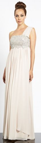 Champagne one shoulder empire line wedding dress
