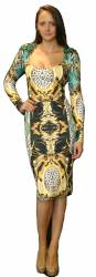 Sleeved knee length printed dress