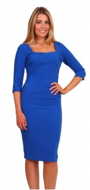 Stretchy blue long sleeved pencil dress