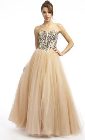 nude colour prom ball gown - a perfect princess look!