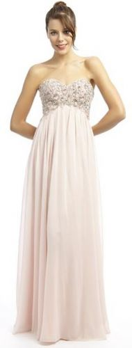 Pinky nude chiffon empire line prom dress