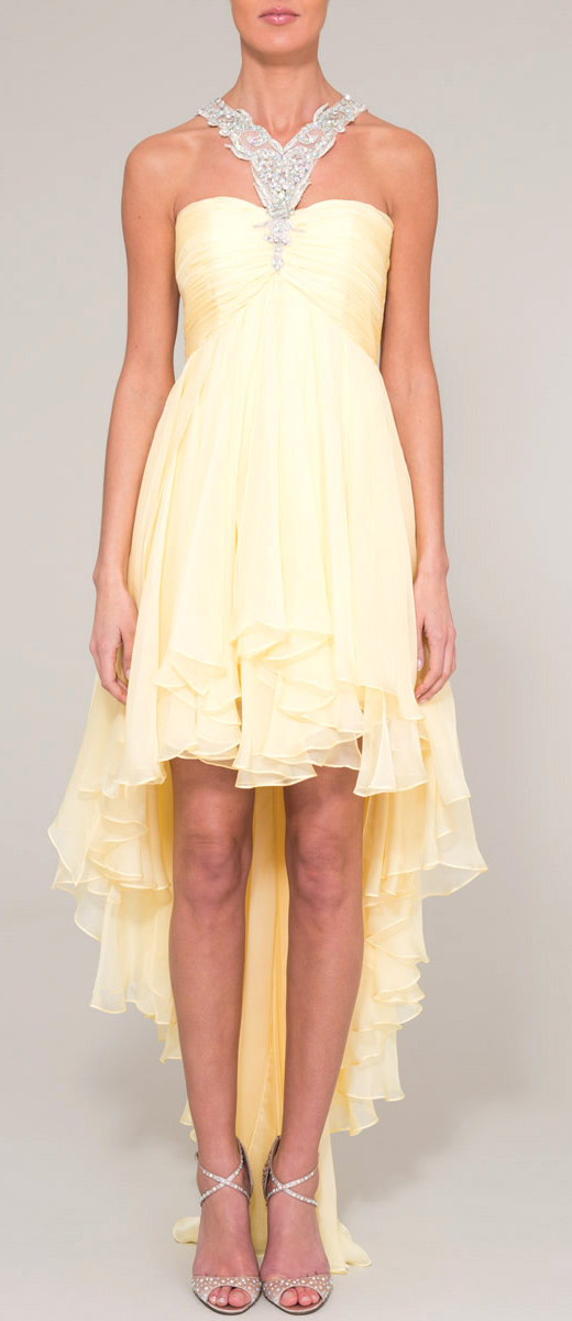 Lemon yellow high low chiffon prom dress