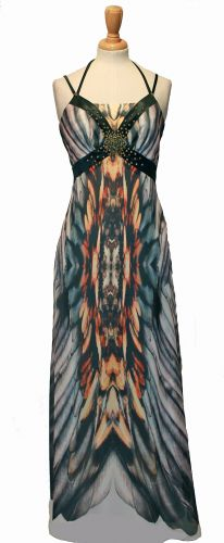 3_Genesis feather print chiffon maxi F