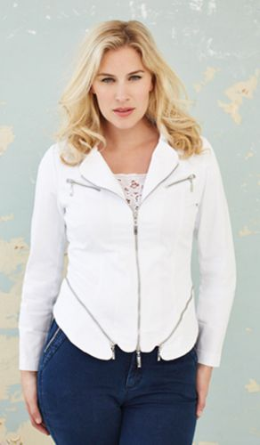Stretch zip feature jacket for ladies with curves