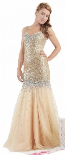 Crystal Encrusted Gold Prom Dress