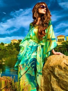Brightly coloured kaftan