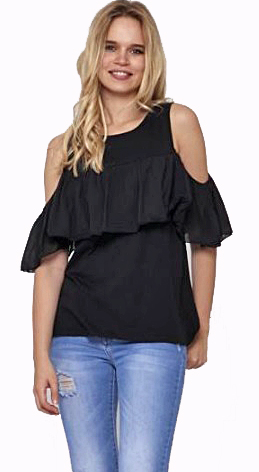 Cold shoulder cotton frill top