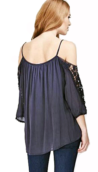 Silk mix cold shoulder lace top
