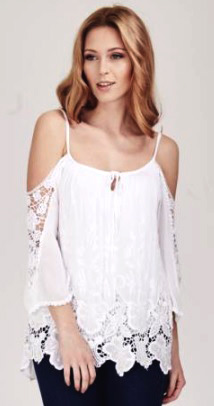 Cold shoulder silk white lacy top