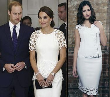 Get the look, The Duchess of Cambridge wears white lattice design outfit, see our similar top and skirt